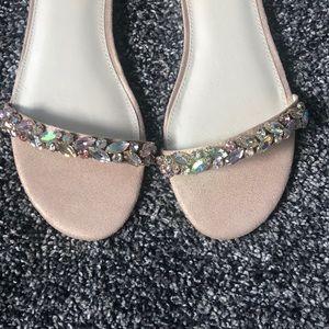b27c154e8a6 David s Bridal Shoes - Faux-Suede Gem Strap Flat Sandals